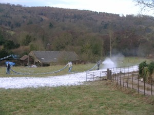 Photograph of artificial snow being sprayed to set the wintry scene for the film The Holiday.
